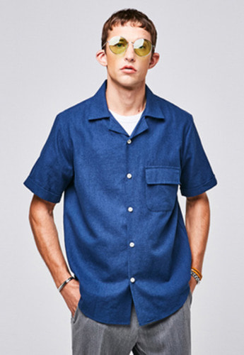 Yan13얀써틴 POCKET OVERFIT SHIRTS_INDIGO