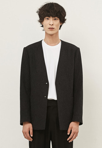 MMGL미니멀가먼츠랩 Man Collarless Wool Jacket Dark Gray