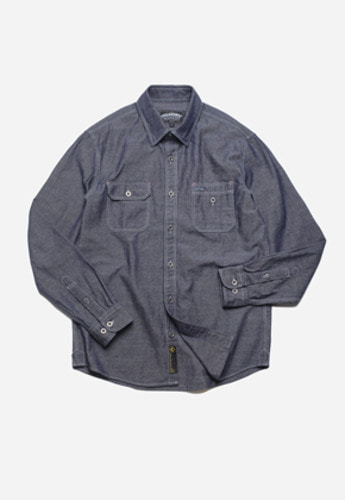 FRIZMWORKS프리즘웍스 Chambray overlap work shirt indigo