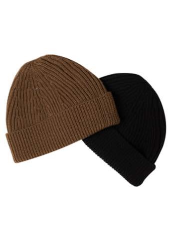 Needlework니들워크 Knit Beanie-Type Short (Brown, Black)