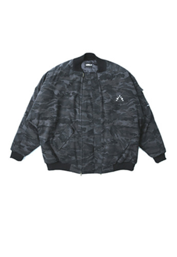 AJO BY AJO아조바이아조 Over Camo Bomber Jacket (Black)