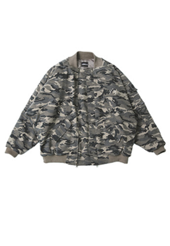 AJO BY AJO아조바이아조 Over Camo Bomber Jacket (Warm Grey)