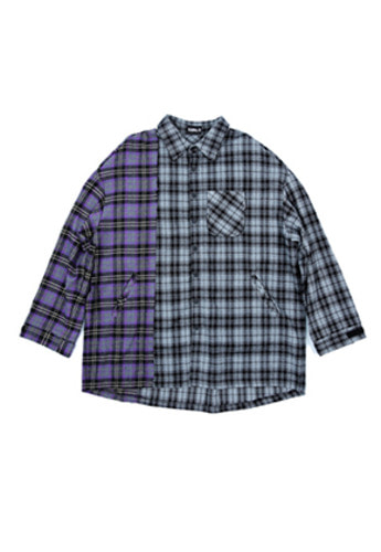 AJO BY AJO아조바이아조 Over Twofold Check Shirt (Purple)