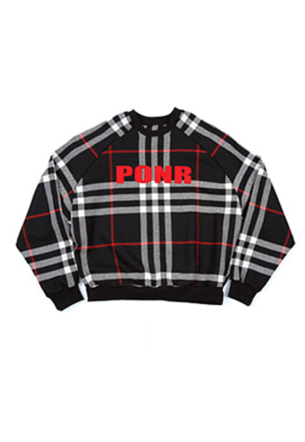 AJO BY AJO아조바이아조 PONR Wool Check Sweatshirt (Black)