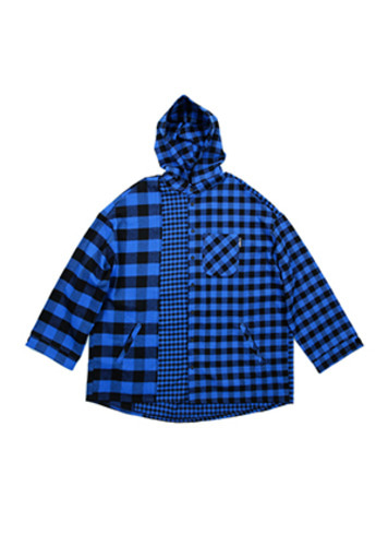 AJO BY AJO아조바이아조 Over Twofold Hood Shirt (Blue)
