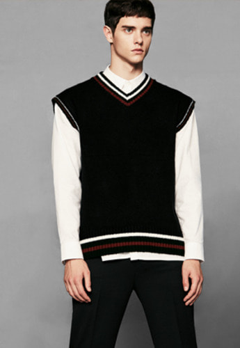 Voiebit브아빗 V511 TWO TONE VEST KNITBLACK