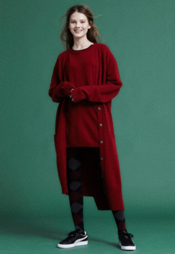 NOHANT노앙 MAXI LONG CARDIGAN RED