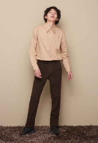 STU에스티유 TURN UP WOOL SLACKS DEEP BROWN