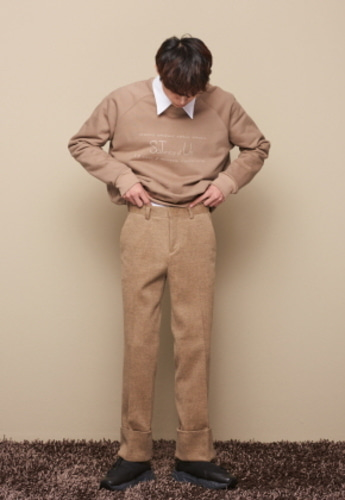 STU에스티유 TURN UP WOOL SLACKS BEIGE