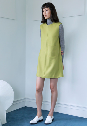 Trwa트와 WOOL SLEEVELESS DRESS(YELLOW GREEN)