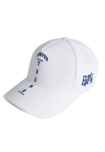 Romantic Crown로맨틱크라운 Forever Young Cross Ball Cap White