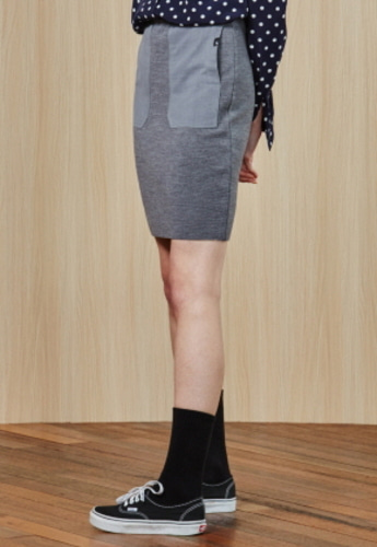 Ampersand앰퍼샌드 Woven Pocket KNIT SKIRT - GREY