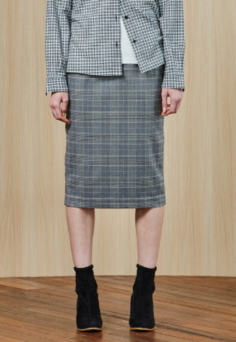 Ampersand앰퍼샌드 Check Pencil SKIRT - GREY CHECK