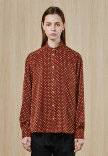 Ampersand앰퍼샌드 High collar SHIRT - BROWN