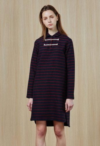 Ampersand앰퍼샌드 Toggle Button STRIPE DRESS - NAVY