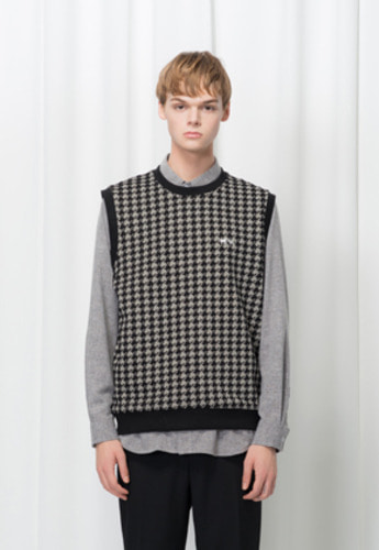 Reve De Agneau레브드앙뉴 [UNISEX]HOUNDTOOTH KNIT VEST(BLACK)