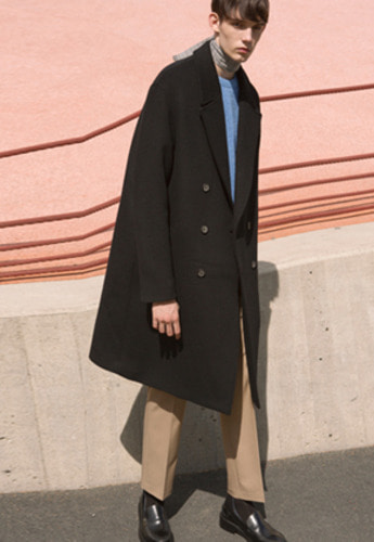 Anderssonbell앤더슨벨 UNISEX CASHMERE JONAS OVERSIZED COAT MEN awa102u Black