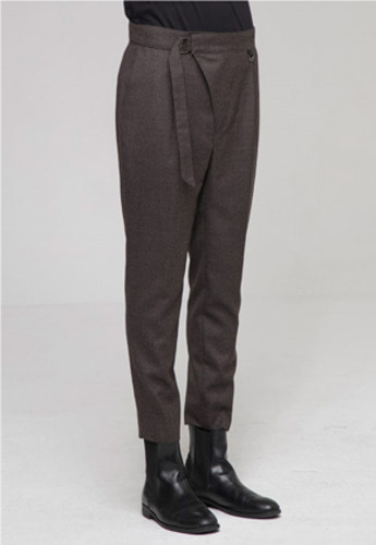 Noirer노이어 Belted Wool Slim Pants Brown