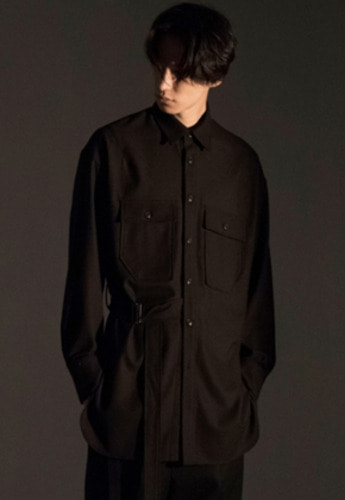 Noirer노이어 Belted Overfit Wool Shirts Black