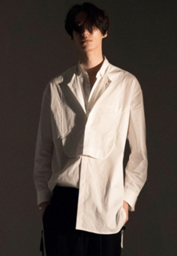 Noirer노이어 Tuxedo Layerd Long Shirts White