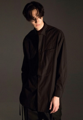 Noirer노이어 Tuxedo Layerd Long Shirts Black