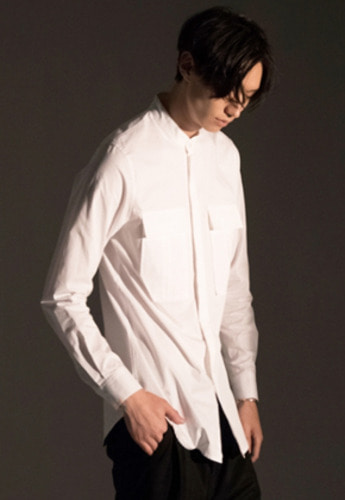 Noirer노이어 Mandarin Field Shirts White