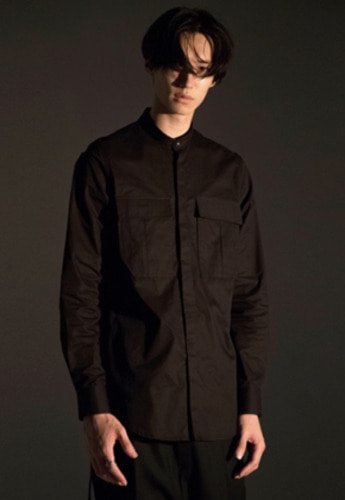 Noirer노이어 Mandarin Field Shirts Black