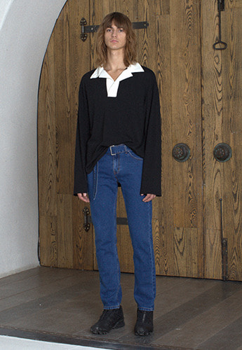 Vuiel뷔엘 OVERSIZED COLLARED RUGBY SHIRT _ BLACK