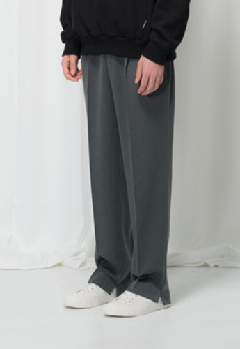 Reve De Agneau레브드앙뉴 SIDE SLIT WIDE PANTS(CHARCOAL)