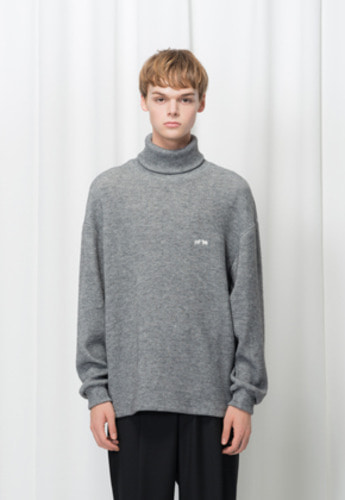 Reve De Agneau레브드앙뉴 [UNISEX]OVERSIZE KNIT TURTLENECK(GREY)