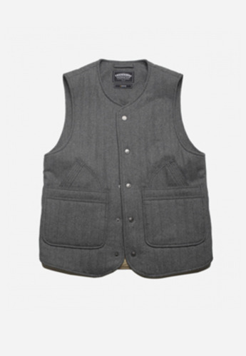 FRIZMWORKS프리즘웍스 GLAD QUILTED WOOL VEST CHARCOAL