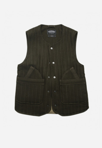 FRIZMWORKS프리즘웍스 GLAD QUILTED WOOL VEST OLIVE