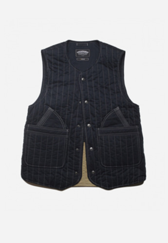 FRIZMWORKS프리즘웍스 GLAD QUILTED TWILL VEST NAVY