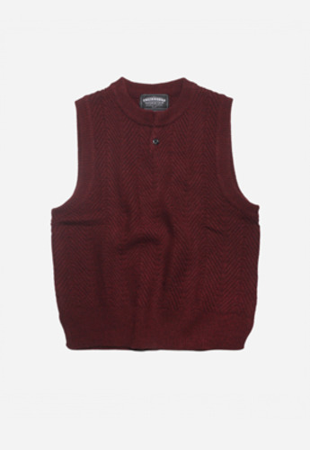 FRIZMWORKS프리즘웍스 HERRINGBONE KNIT VEST BURGUNDY