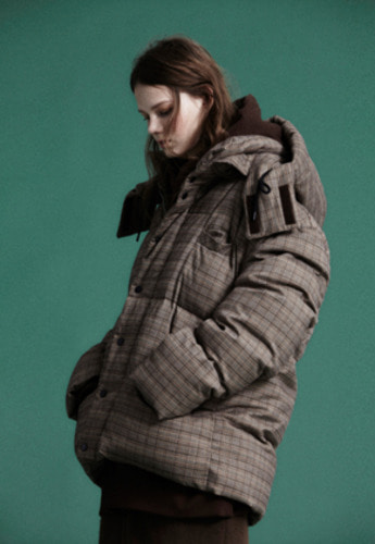 NOHANT노앙 GLEN CHECK SHORT PUFFER JACKET BROWN