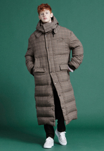 NOHANT노앙 GLEN CHECK LONG PUFFER JACKET BROWN