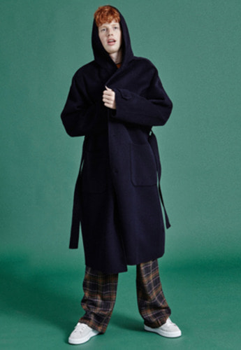 NOHANT노앙 HANDMADE SOFT HOODED COAT NAVY
