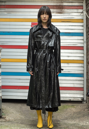 XYZ UNISEX Leather Trench Coat - Black [Order Made] [ 아티스트 DEAN 착용 ]