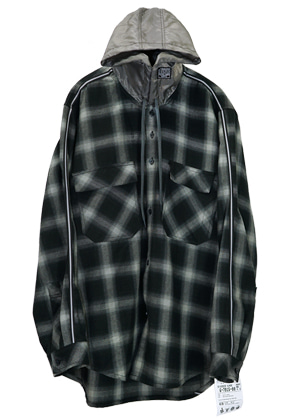 MPQ엠피큐 LINE QUARTET_HOOD CHECK SHIRTS (BLACK)