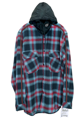 MPQ엠피큐 LINE QUARTET_HOOD CHECK SHIRTS (NAVY)