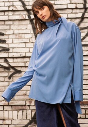 Anderssonbell앤더슨벨 HIGH NECK LONG BLOUSE atb171w Blue