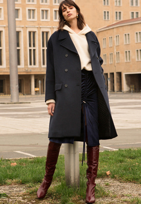 Anderssonbell앤더슨벨 AVALON OVERSIZED DOUBLE COAT awa096w Navy