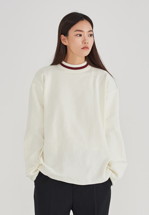 Voiebit브아빗 LLUD x VOIEBIT DOUBLE NECK SWEATER WHITE