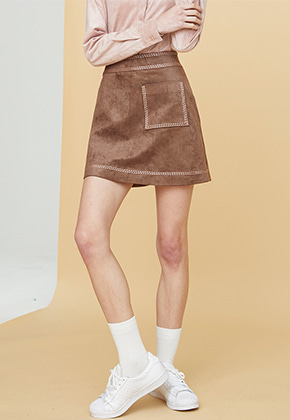 Millogrem밀로그램 Embroidered Suede Skirt_Brown