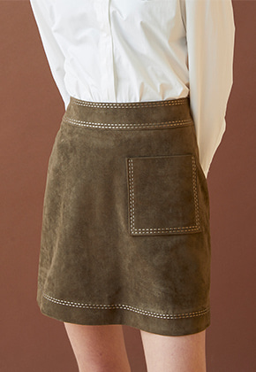 Millogrem밀로그램 Embroidered Suede Skirt_Khaki