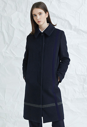 Millogrem밀로그램 Crossed Color Mac Coat _Navy