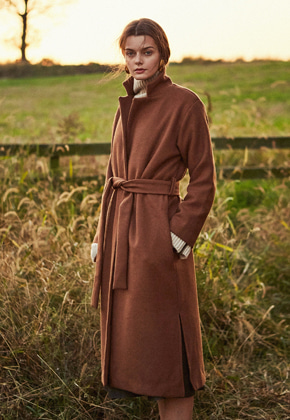 Yan13얀써틴 BASIC SLIT LONG COAT_BROWN
