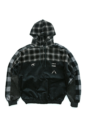 AJO BY AJO아조바이아조 Corduroy Check Hood Anorak (Warm Grey)