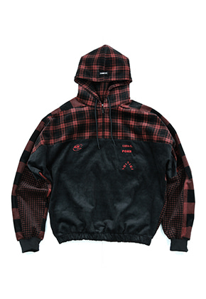 AJO BY AJO아조바이아조 Corduroy Check Hood Anorak (Red)