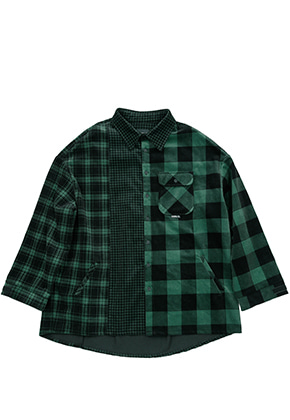 AJO BY AJO아조바이아조 Corduroy Check Shirt Outer (Green)